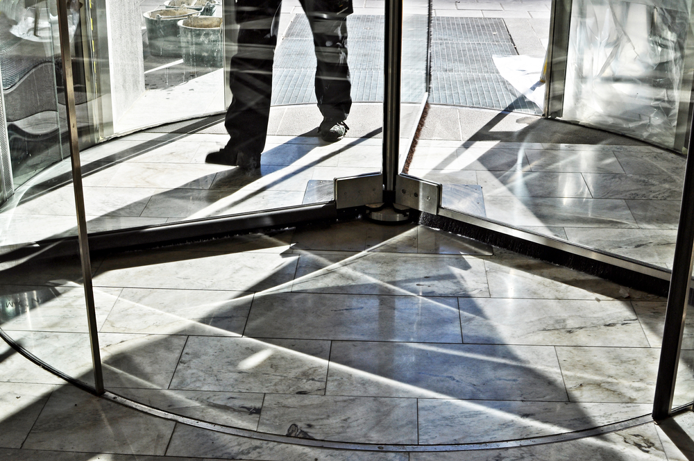 revolving door for commercial building needing access control systems