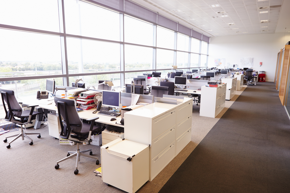 open office space with large windows